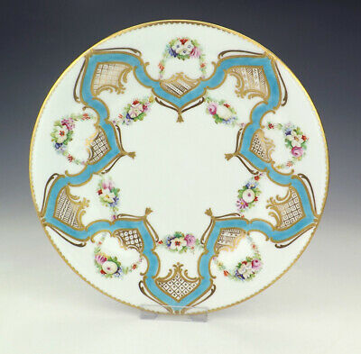 Antique Minton Porcelain - Hand Painted Flowers Turquoise Banded Plate