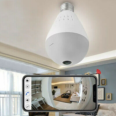 360° Panoramic SPY Hidden wifi Camera Light Bulb Home Security IP CAM Lamp Z