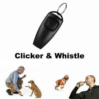 Pet Puppy Dog Clicker & Whistle Training Obedience Agility Trainer Click 2 In 1