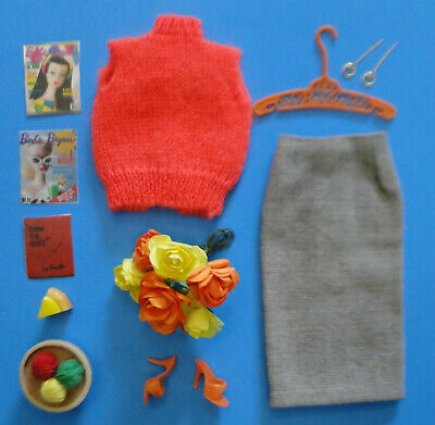 Vintage Barbie 1960's Sweater Girl #976 VGC! w/ Accessories - Japan Shoes, Yarn+