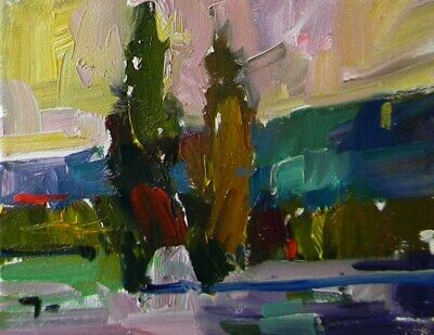 Jose Trujillo - 2 Pines Cypress Trees Earth Tones Oil Study Painting Fauvism