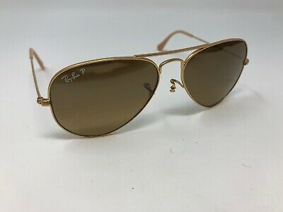 adc021fee RAY BAN Aviator Sunglass Gold RB 3025 112/M2 Polarized Brown Gradient 55mm  K670
