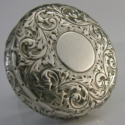 BEAUTIFUL STERLING SILVER TRINKET BOX c1900 ANTIQUE VICTORIAN 2.25 inch