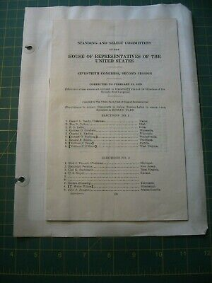 1929 House Of Representatives Us Congress Session Program Committee Political Nr