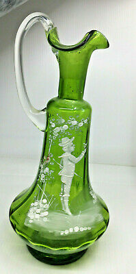 Mary Gregory Antique Glass Decanter Green Little Boy Flowers Cruet Needs Stopper