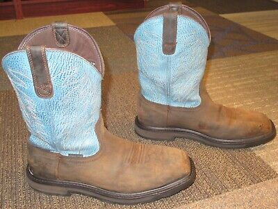 0d52a36882c MENS ARIAT GROUNDBREAKER Wide Square Toe H2O Steel Toe Work Boots sz ...