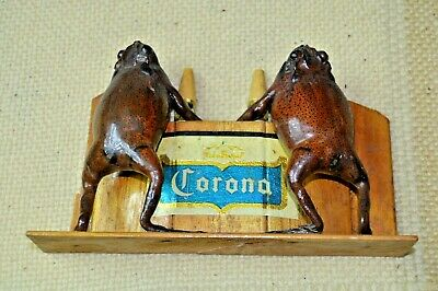 UNIQUE Folk Art Piece W REAL Taxidermy Frogs Drinking Beer at Corona Bar