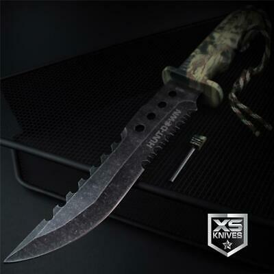 Tactical STONEWASHED Combat CAMO Bowie Hunting FIRE STARTER Survival Knife 12""