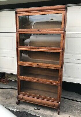 Antique Oak Barrister Sectional Bookcase 3 4 Size Width Made