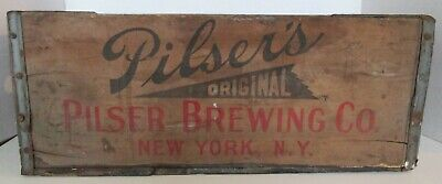 Pilser Brewing Co New York NY Wood Beer Bottle Shipping Delivery Crate 1944