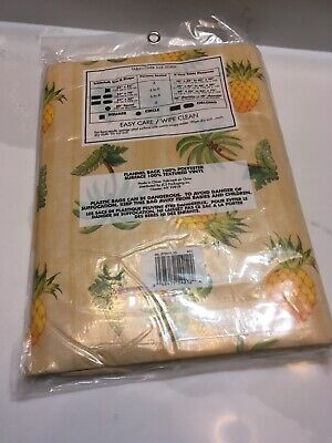 """Vintage Mid Century Vinyl Tablecloth Tropical Palm Trees/ Pineapples  52"""" x 70"""""""