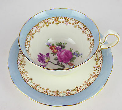 Teacup + Saucer Aynsley Rose Vintage Tulip Bouquet baby blue bone china England