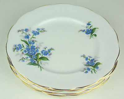 "Set 4 x Dessert Tea Plates 7 1/8"" Royal Albert Forget-Me-Not vintage England"