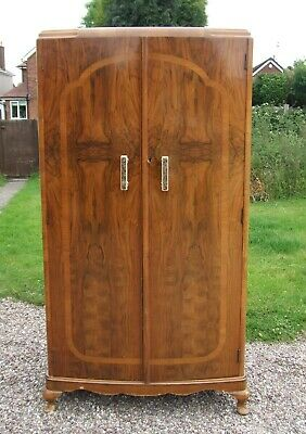 Vintage Art Deco Style Walnut Veneered Two-Door Wardrobe with Rail & Shelves