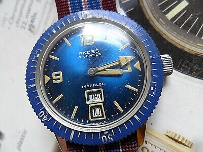 Blue Dial Men's 1970's Vintage Andes 17 Jewel France Diver's Day Date Watch Runs