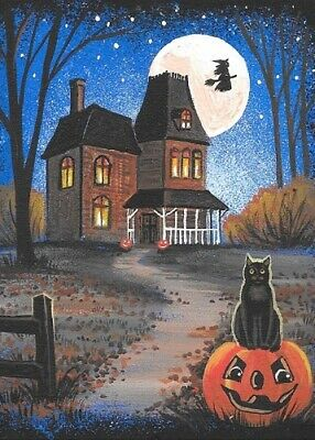 5x7 PRINT OF PAINTING HALLOWEEN RYTA BLACK CAT WITCH HAUNTED HOUSE FULL MOON