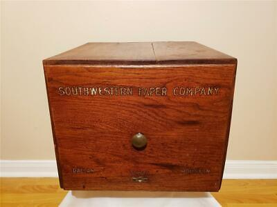 Antique Advertisement Southwestern Paper Co Houston Dallas Oak File Box Cabinet