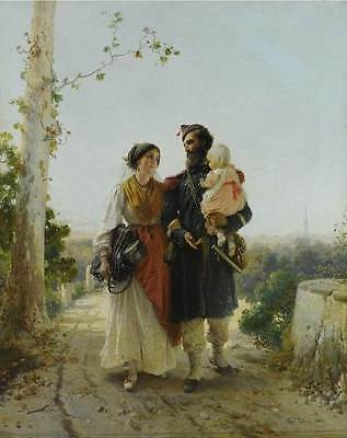 """perfect 24x36 oil painting handpainted on canvas """"Return from Camp""""@N9989"""