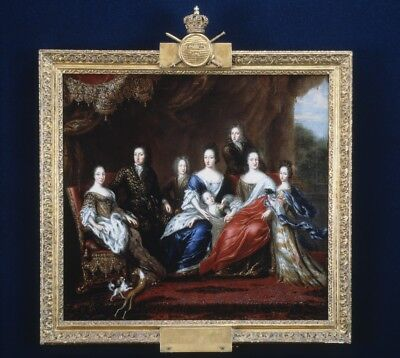 """oil painting handpainted on canvas""""charles xi's family"""" no frame@N10335"""