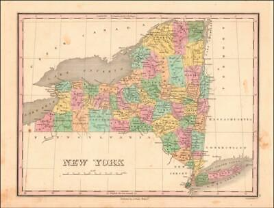 NEW YORK, Anthony Finley Map, hand colored engraving, ORIGINAL, ANTIQUE 1824