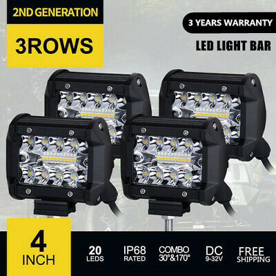 4x 4 inch 200W CREE LED Light Bar SPOT FLOOD 3Row Offroad Work 4x4 4WD Fog Lamp