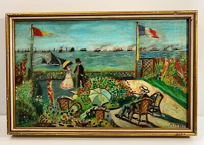 Old Vintage Painting After Claude Monet Garden At Sainte Adresse Signed Annis
