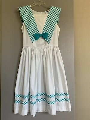 Picture Me Girls Vintage Dress Size 16 Sleeveless Multicolored White Sailor