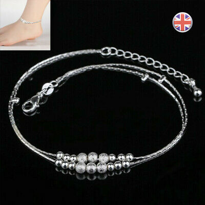 Womens 925 Sterling Silver Beaded Ankle Anklet Chain Bracelet Foot Jewelry