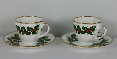 Pair Of Rosina Queens Bone China Tea Cup & Saucer - Yuletide - Made In England
