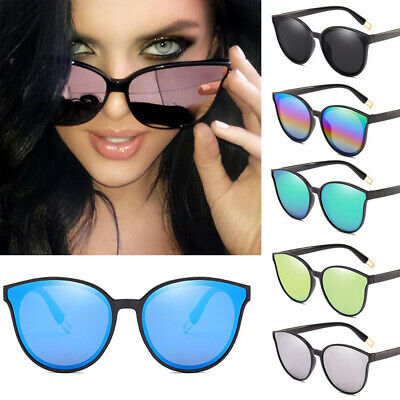 Fashion Oversized Sunglasses Cat Eye Mirrored Lens Women Flat UV400 Eyewear Hot