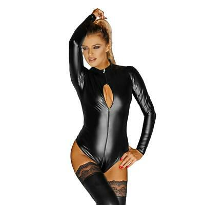 Exclusive Noir Handmade Long Sleeve Body Wetlook with Zipper Black #GW690