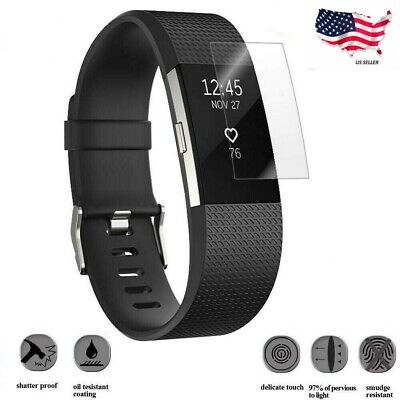 Ultra Clear Tempered Glass Screen Protector For Fitbit Charge 2 Watch USA