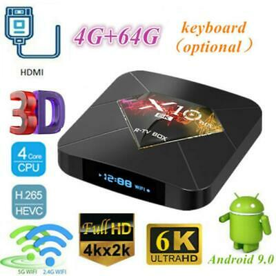 Smart TV Box WiFi LCD X10 PLUS 6K H6 Quad Core Player Android + Keyboard