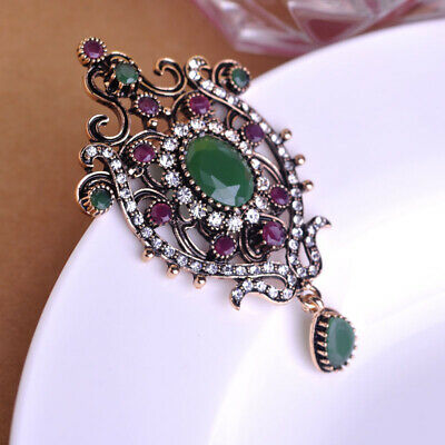 Retro Brooches Badge Water Drop Shape Women Ancient Gold Plated Brooch Pin Party