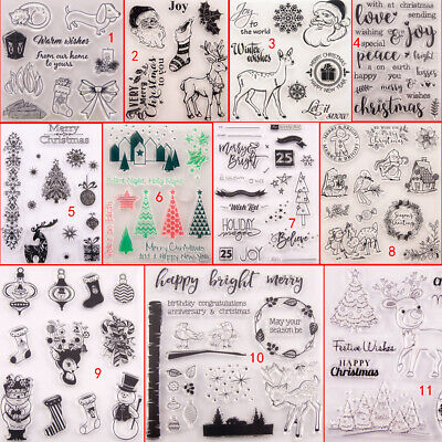 Merry Christmas Transparent Silicone Clear Stamps DIY Scrapbook Embossing Wishes