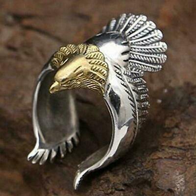 Retro Adjustable Metal Silver Ring Punk Eagle Bird Wing Open Ring For Men J7W1
