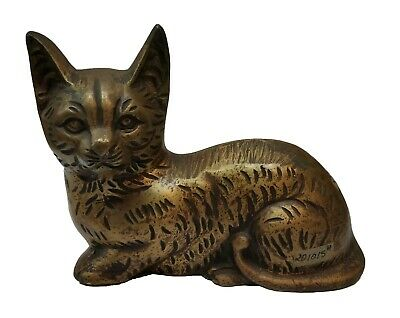 Antique Home Decor Solid Brass Personalized Cat Statue Figurine Sclupture#TSH202
