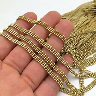 10/50 yards  Raw Brass Triple Ball Chain 1.5mm beads 4.5mm wide