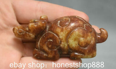 "3.2"" Old Chinese Hongshan Culture Jade Carved Dragon Turtle Beast Animal Statue"