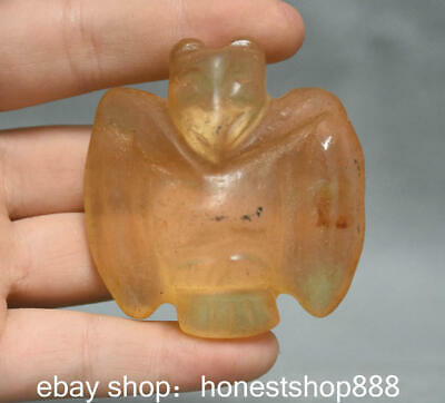 "2.4"" Old Chinese Hongshan Culture Crystal Hand Carved eagle Birds Pendant Amulet"