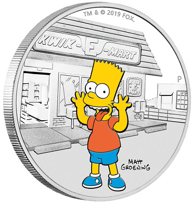 BART Simpsons 1 Oz Silver Coin 1$ dollar Tuvalu 2019