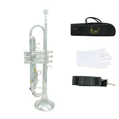 Bb Trumpet Silver School Band for Student Beginner with  Case Care Kit Gift