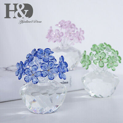 Crystal Flower Figurines Ornaments Glass Paperweight Home Wedding Decor Gift Box