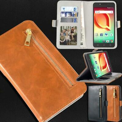 Flip Cover Stand Wallet Card Leather Case For Various Alcatel Pixi SmartPhones