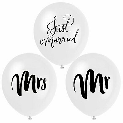 Mr & Mrs Balloons Just Married Mr Mrs Latex Balloon Wedding Decorations UK