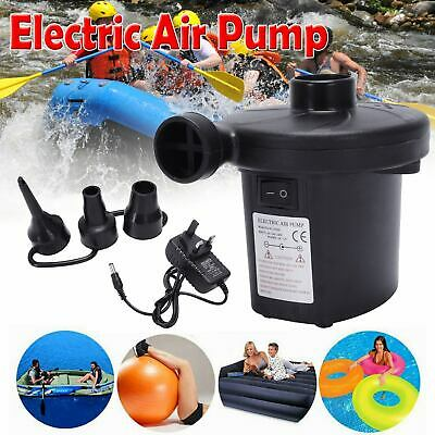 Electric Air Pump Inflate Deflate with 3 Nozzles for Air Bed Boat Camping Pool U