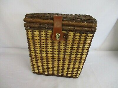 Picnic Box Basket Brown Wicker Fabric Lining 32 X 32 X 20 Cms Vintage Retro