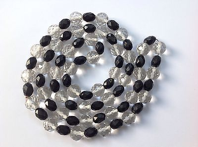 Vintage Art Deco Czech Black and Clear Crystal Glass Bead Necklace