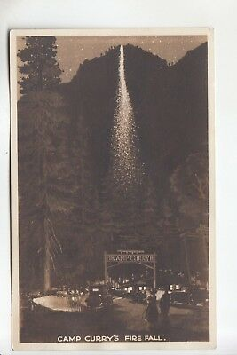 Real Photo Postcard Camp Curry Fire Fall Yosemite National Park CA