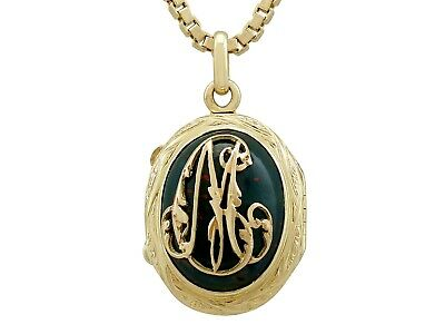 Antique French Bloodstone and 18k Yellow Gold Locket